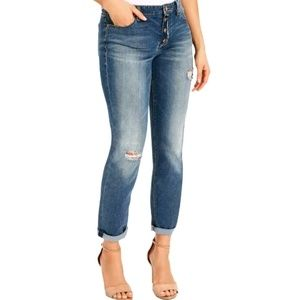 Denim - VINTAGE AMERICA Washed Distressed Buttonfly Jeans